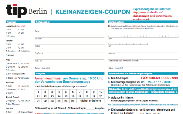 kleinanzeigen coupons zum ausdrucken tip berlin. Black Bedroom Furniture Sets. Home Design Ideas