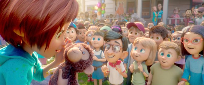 June and her best friend Bunky (in front center with glasses) in a scene from the animated film, WONDER PARK by Paramount Animation and Nickelodeon Movies