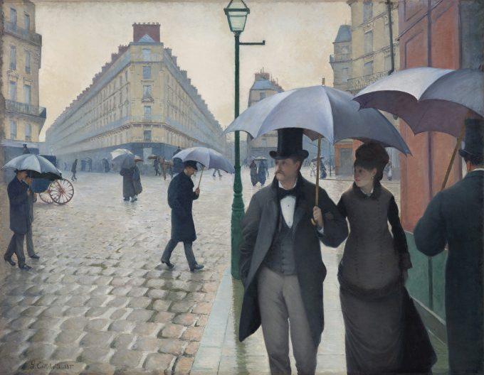 Gustave Caillebotte  Rue de Paris, temps de pluie (Straße in Paris, Regenwetter), 1877 Öl auf Leinwand, 212,2× 276,2cm Art Institute of Chicago © Charles H. and Mary F. S. Worcester Collection