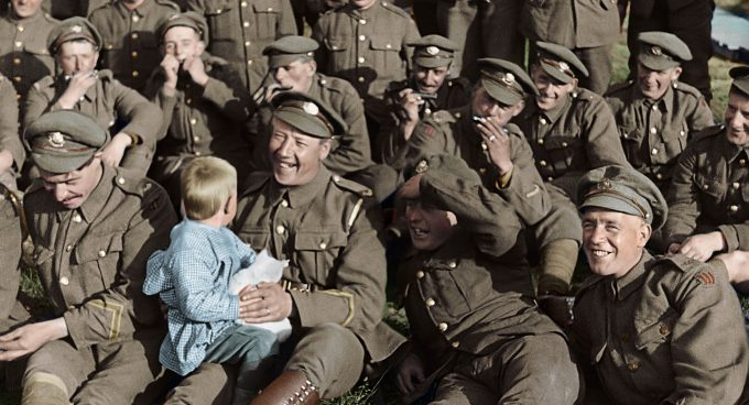 """TSNGO-PublicityStills-04  Film Name: THEY SHALL NOT GROW OLD  Copyright: © 2018 Imperial War Museum  Photo Credit: Courtesy of Warner Bros. Pictures  Caption: A restored and colorized image showing a moment from Peter Jackson's acclaimed WWI documentary """"They Shall Not Grow Old,"""" a Warner Bros. Pictures release"""