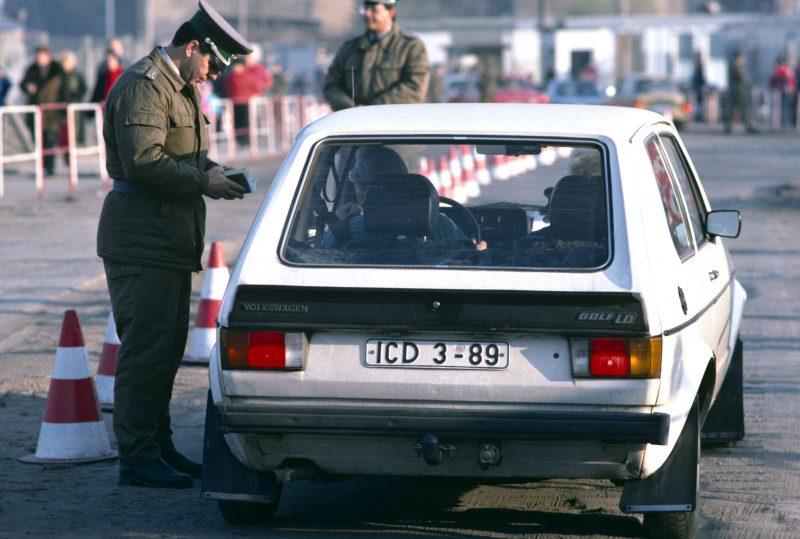 West-German crossing East-German border near Potsdamer Platz, Berlin.
