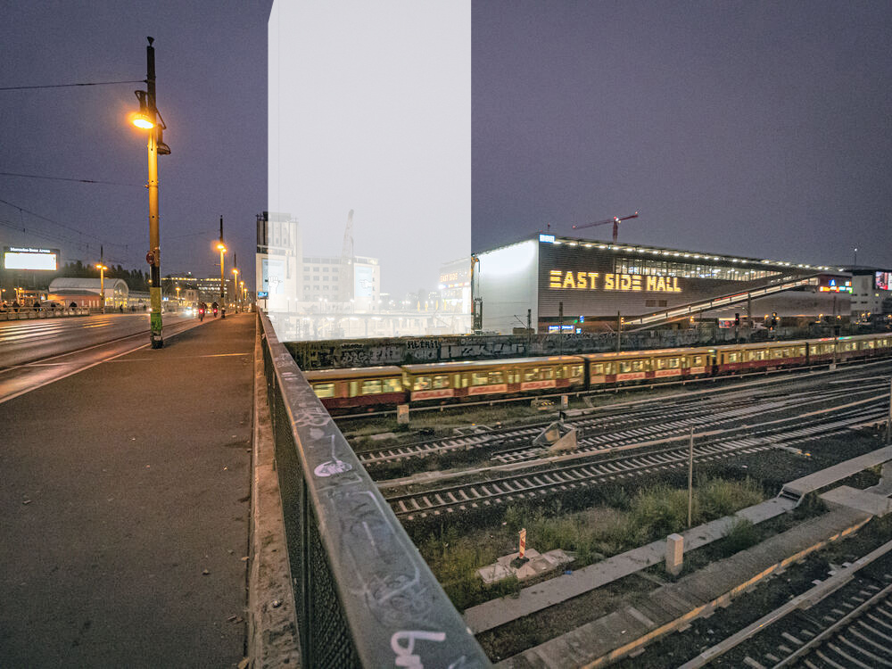 Montage of the planned high-rise next to the East Side Mall at Warschauer Straße.