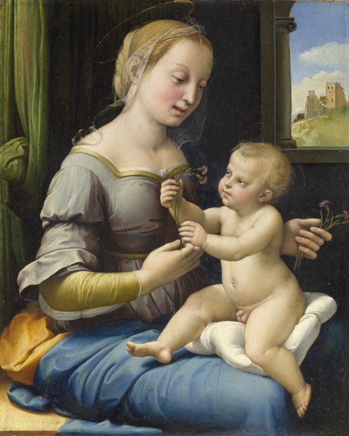 Raffael, Madonna mit den Nelken (The Madonna of the Pinks / La Madonna dei Garofani), um 1507, Öl auf Eibenholz, 27,9 x 22,4 cm, © The National Gallery, London. Bought with the assistance of the Heritage Lottery Fund, The Art Fund (with a contribution from the Wolfson Foundation), the American Friends of the National Gallery, London, the George Beaumont Group, Sir Christopher Ondaatje and through public appeal, 2004