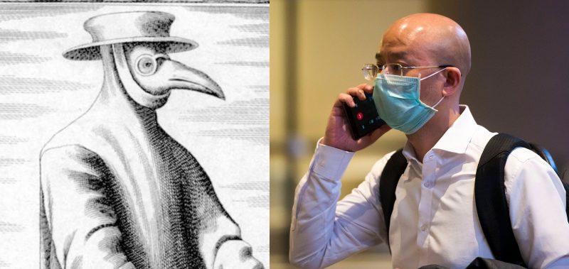Historischer Stich: Mensch mit Pestmaske. uUnd ein Mann mit Gesischtsmaske und Smartphone.