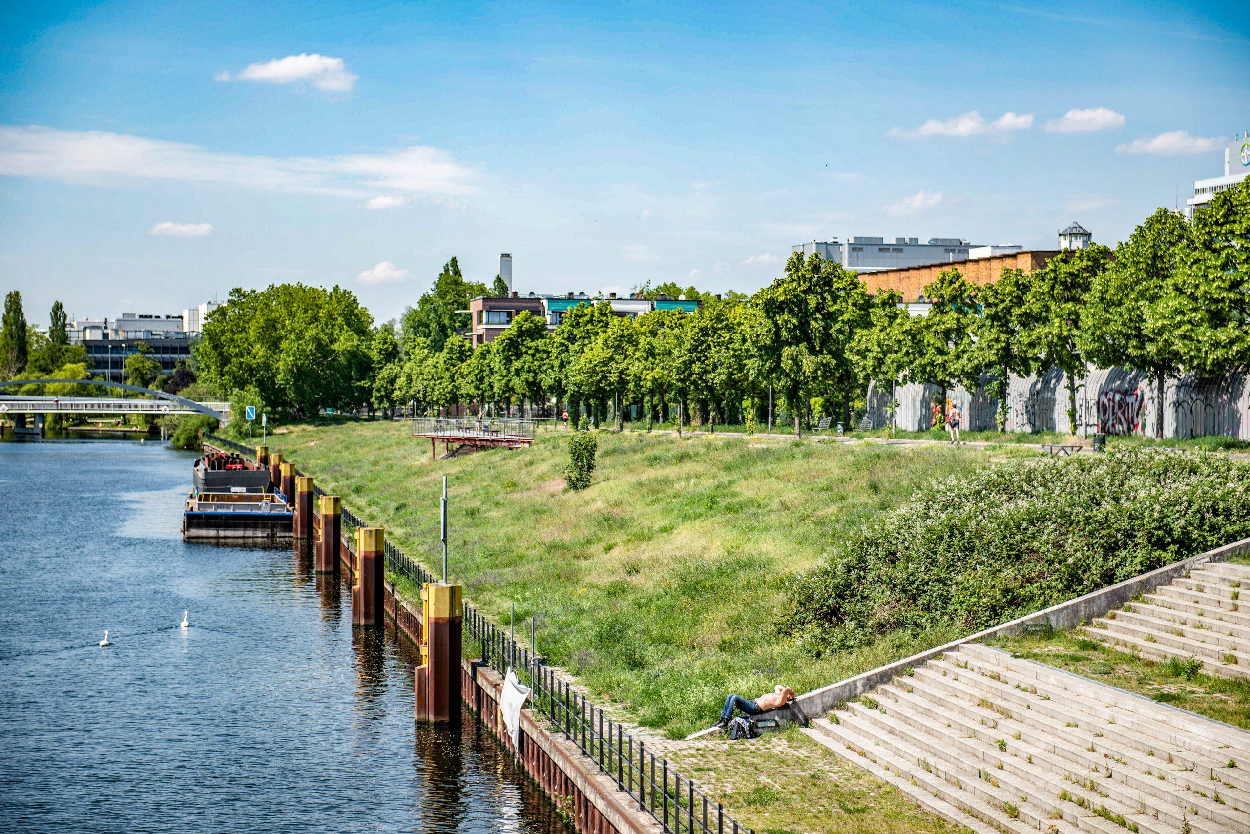 Der Park am Nordhafen gehört zu den schönsten Orten in Berlin, die am Wasser liegen. Dort trifft man bei gutem Wetter eigentlich immer Anwohner, die auf der Wiese liegen und sich sonnen. Foto: Imago/F. Anthea Schaap