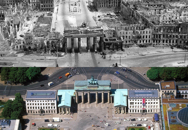 Fotos vom Kriegsende in Berlin: Gegenüberstellung 1945 und 2020