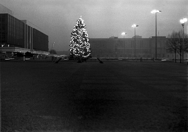 Lustgarten mit Weihnachtsbaum. Blick zum Marx-Engels-Platz mit Palast der Republik und Staatsratsgebäude, 1986.
