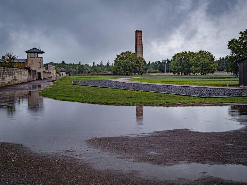 Blick auf das Konzentrationslager Sachsenhausen.