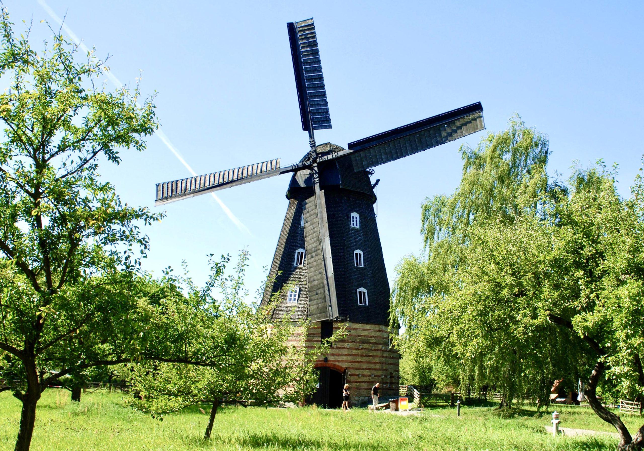 """Die Britzer Mühle ist eine der wenigen noch """"arbeitenden"""" Mühlen in Berlin. Hier erfährt man, wie Brot entsteht. Foto: imago images/NBL"""