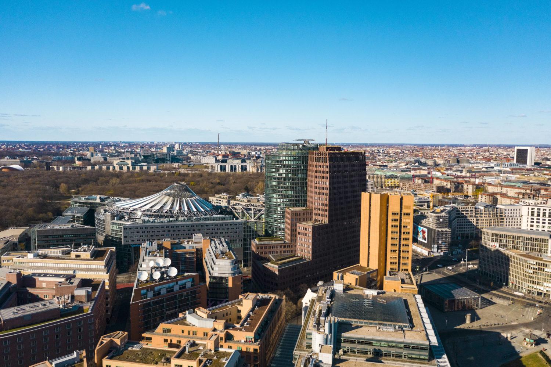 Luftbild vom Potsdamer Platz, Aufnahme vom Sommer 2020. Foto: Imago/Westend61