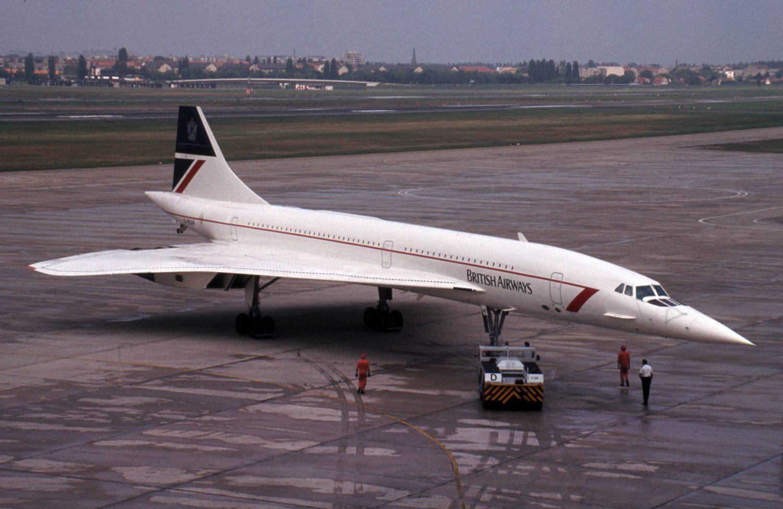 Concorde der British Airways auf dem Rollfeld am Flughafen Tegel. Die Überschallflugzeuge sind Geschichte. Foto: Imago Images/Gerhard Leber