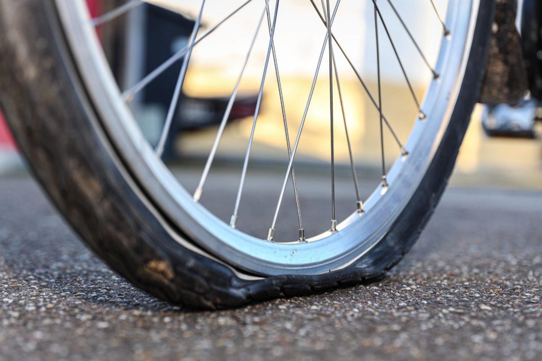 Platten im Fahrrad.