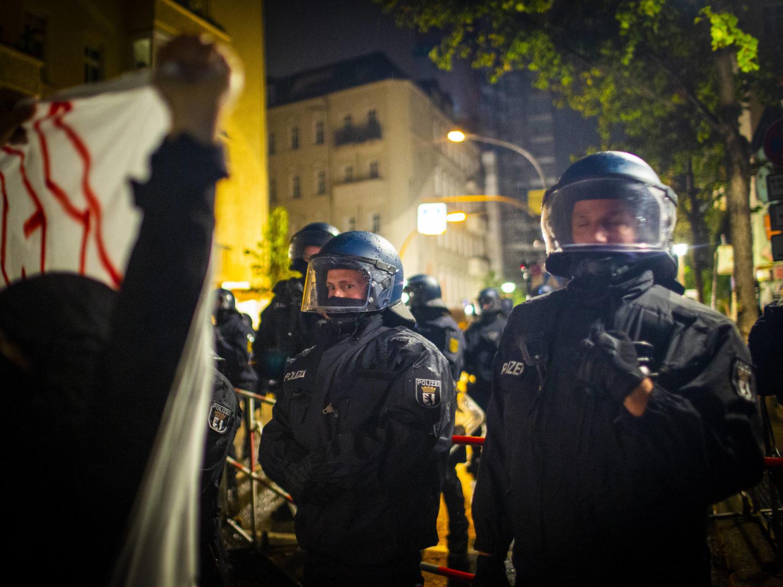 Proteste bei der Liebig34-Räumung.
