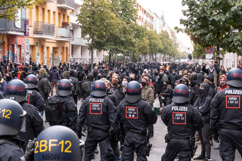 Protestkundgebung bei der Räumung der Liebig34 am 9.10.2020.