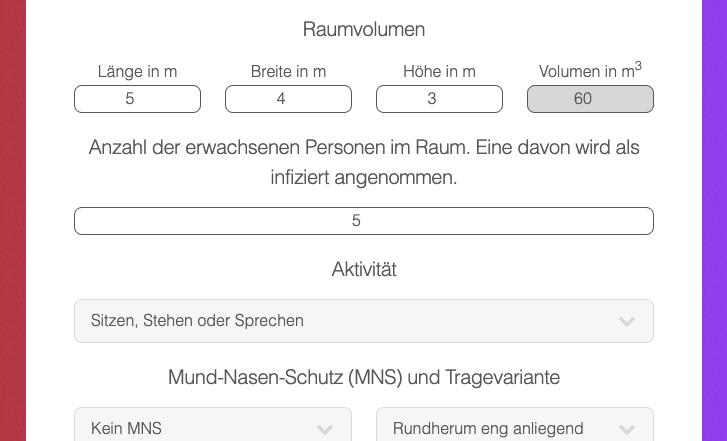Corona-Risiko-Rechner: Für eine Ermittlung müssen einige Angaben gemacht werden. Screenshot: TU Berlin