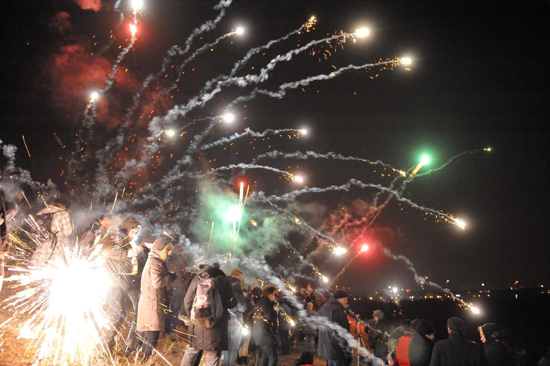 Feuerwerk auf dem Teufelsberg in Berlin.
