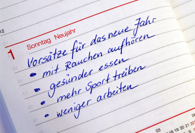 Eine Kalenderseite auf der die guten Vorsätze fürs neue Jahr vermerkt sind.
