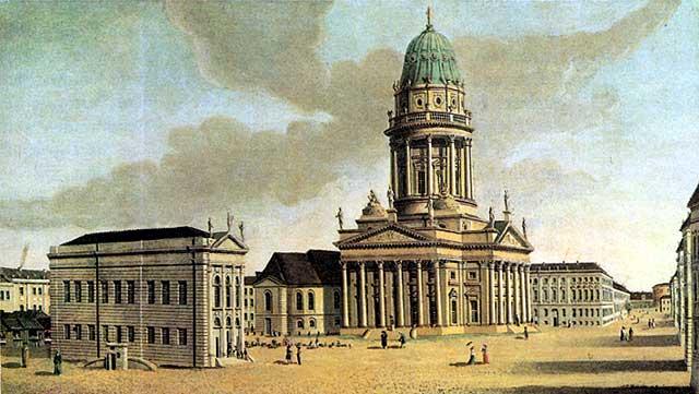 Historische Theater in Berlin: Gendarmenmarkt in Berlin mit Französischem Dom und Französischem Komödienhaus (links); Bild von Carl Traugott Fechhelm, 1788. Foto: Gemeinfrei