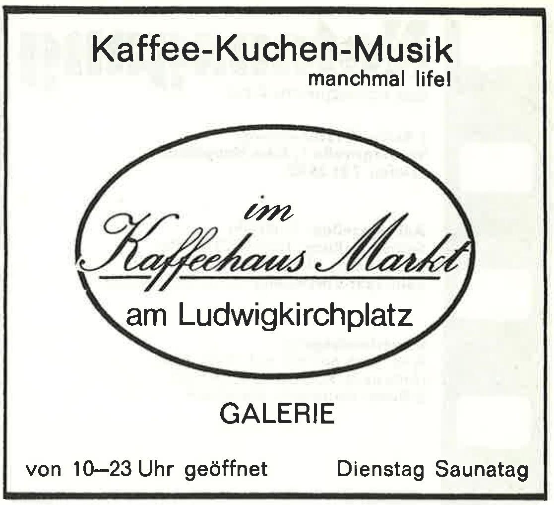 Werbeanzeigen Berliner Kneipen: Alte Werbeanzeige des Berliner Cafés Kaffeehaus Markt. Foto: Archiv tipBerlin