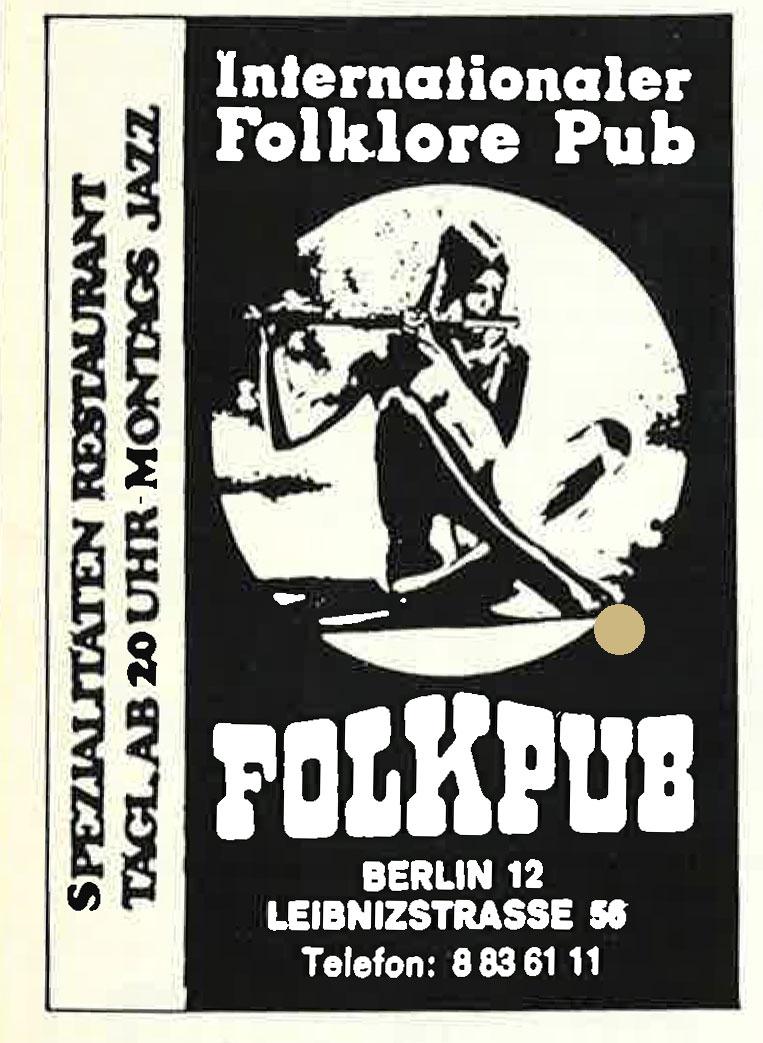Alte Werbeanzeige der Berliner Kneipe Folkpub. Foto: Archiv tipBerlin