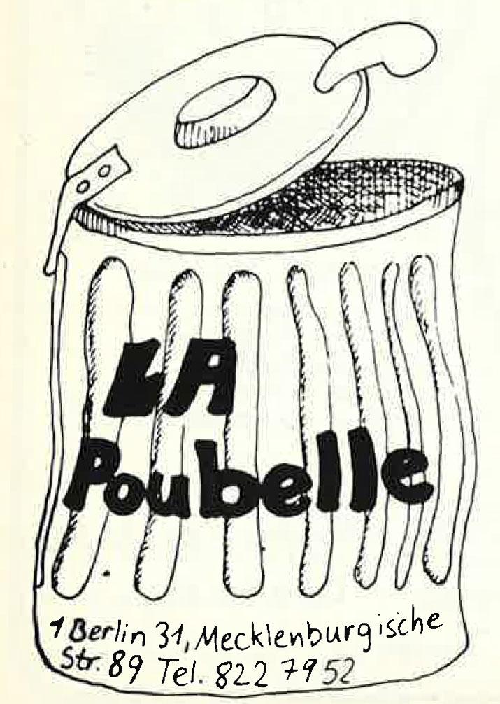 Alte Werbeanzeige der Berliner Kneipe La Poubelle. Foto: Archiv tipBerlin