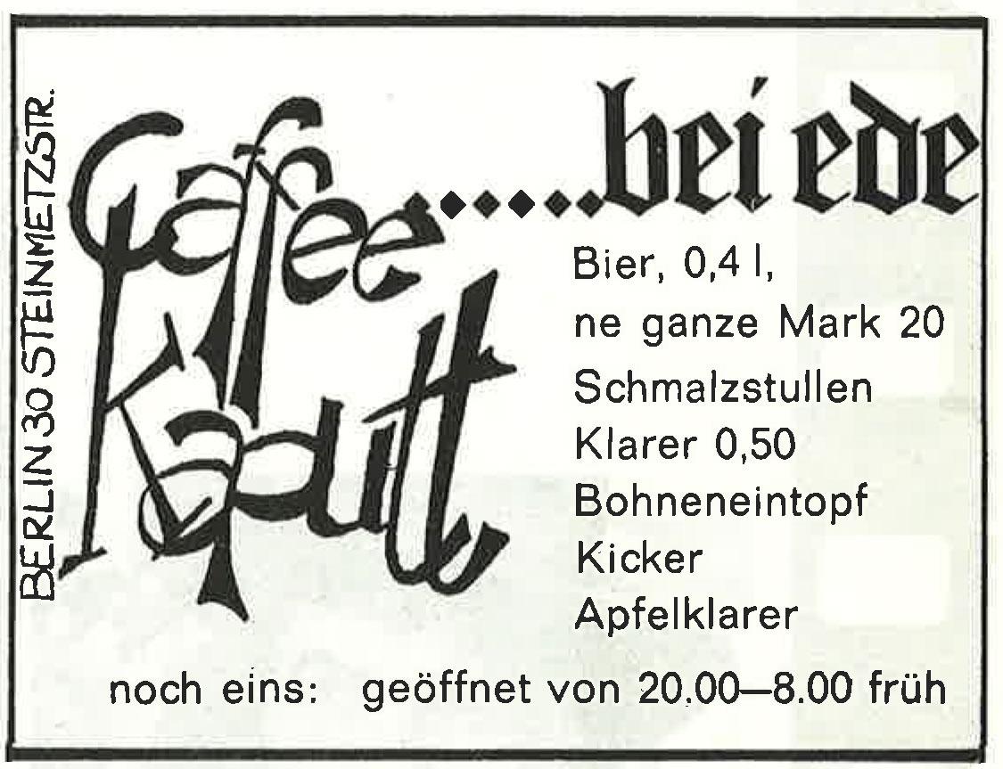 Alte Werbeanzeige der Berliner Kneipe Kaffee Kaputt. Foto: Archiv tipBerlin
