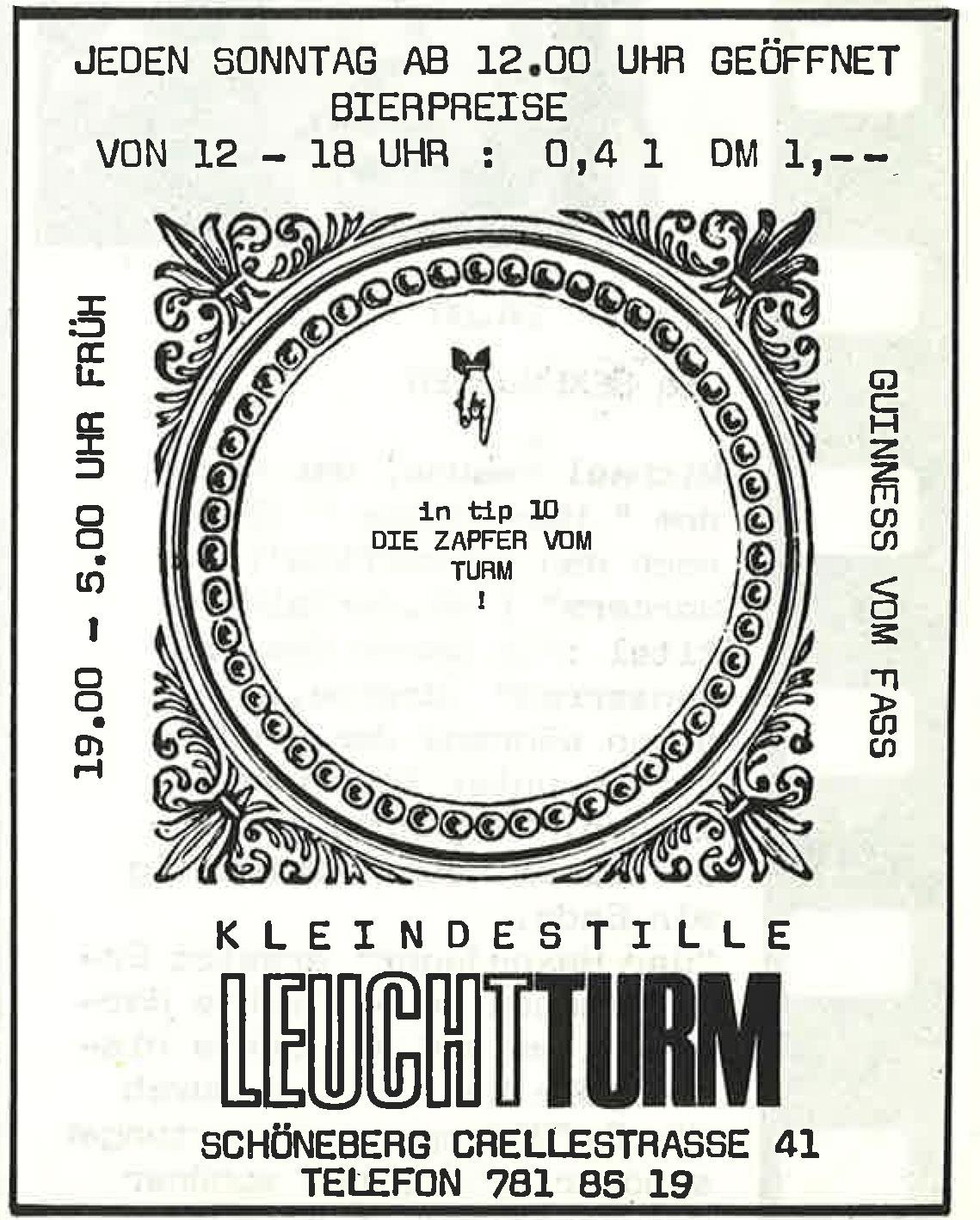 Alte Werbeanzeige der Berliner Kneipe Leuchtturm. Foto: Archiv tipBerlin