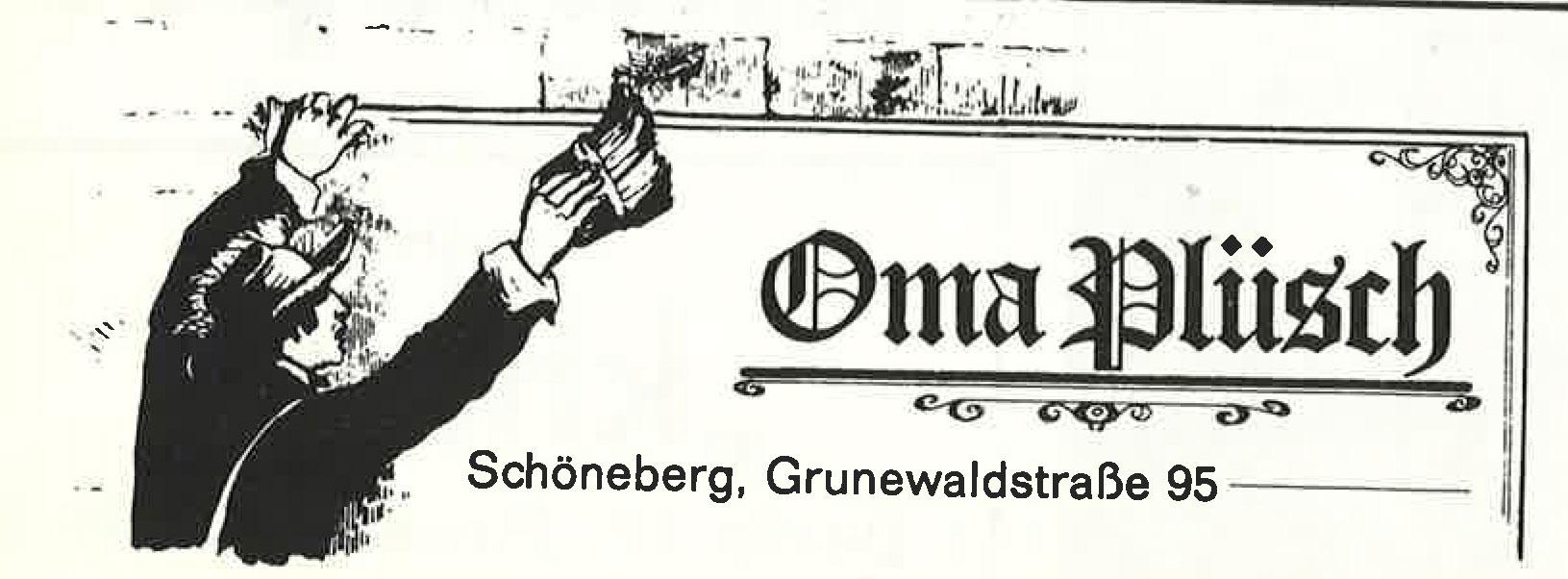 Alte Werbeanzeige der Berliner Kneipe Oma Plüsch. Foto: Archiv tipBerlin