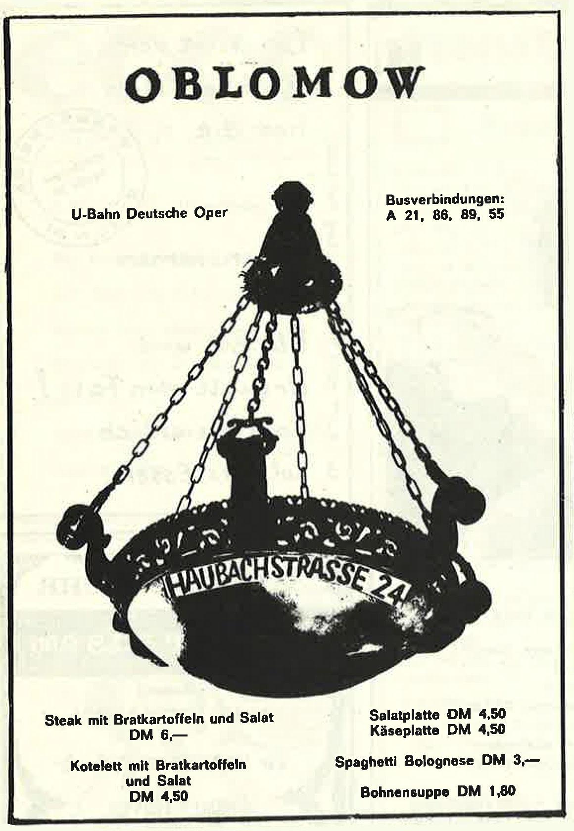 Alte Werbeanzeige des Berliner Restaurants Oblomow. Foto: Archiv tipBerlin