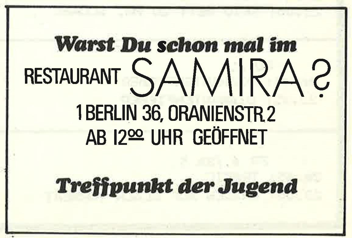 Alte Werbeanzeige des Berliner Restaurants Samira. Foto: Archiv tipBerlin