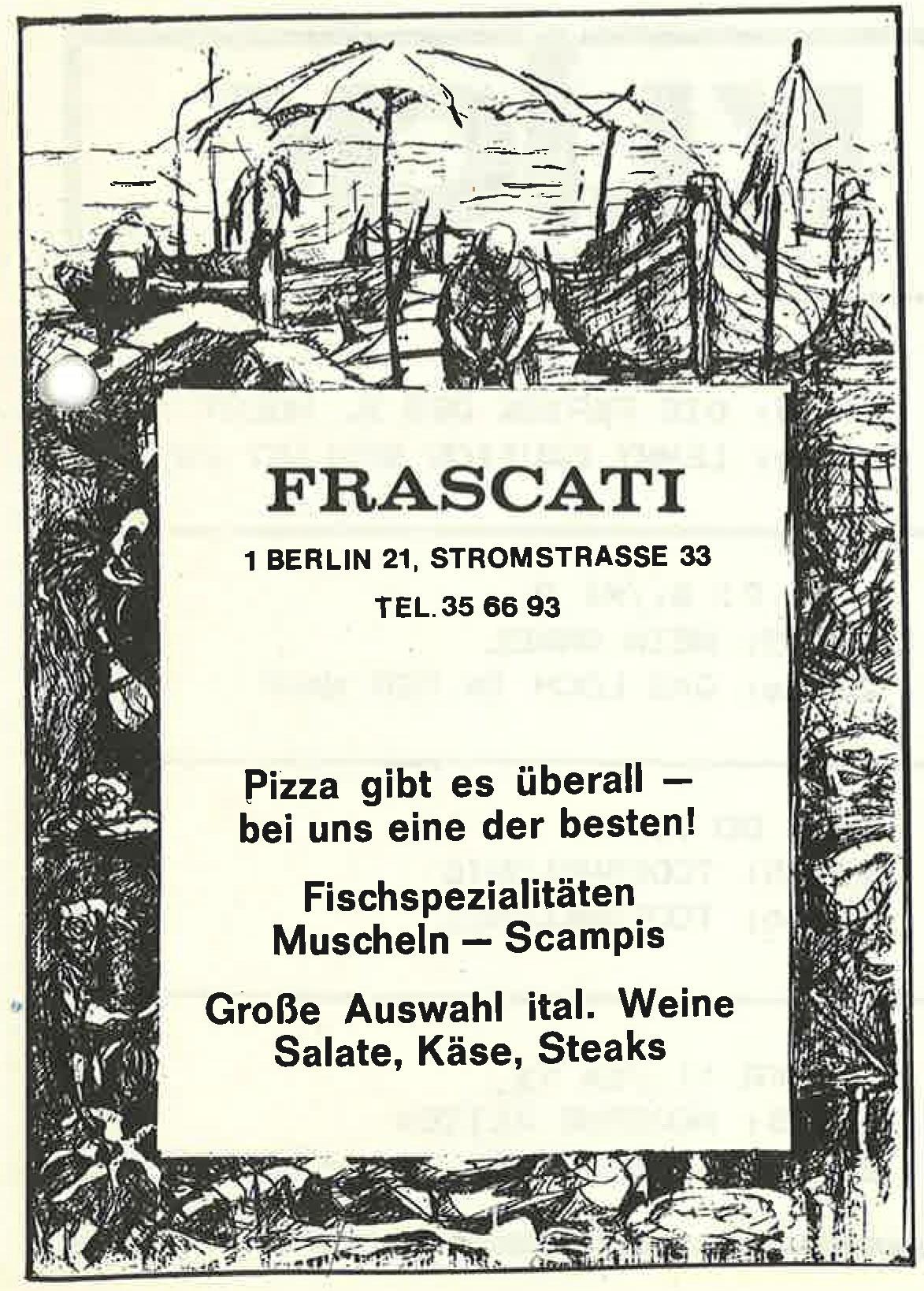 Alte Werbeanzeige des Berliner Restaurants Frascati. Foto: Archiv tipBerlin
