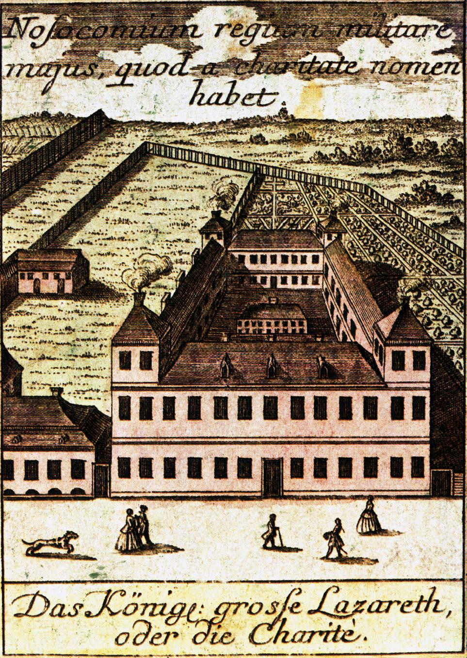 1740 war die Charité noch ein Militärhospital und befand sich in der Pampa vor Berlin. Foto: Gemeinfrei