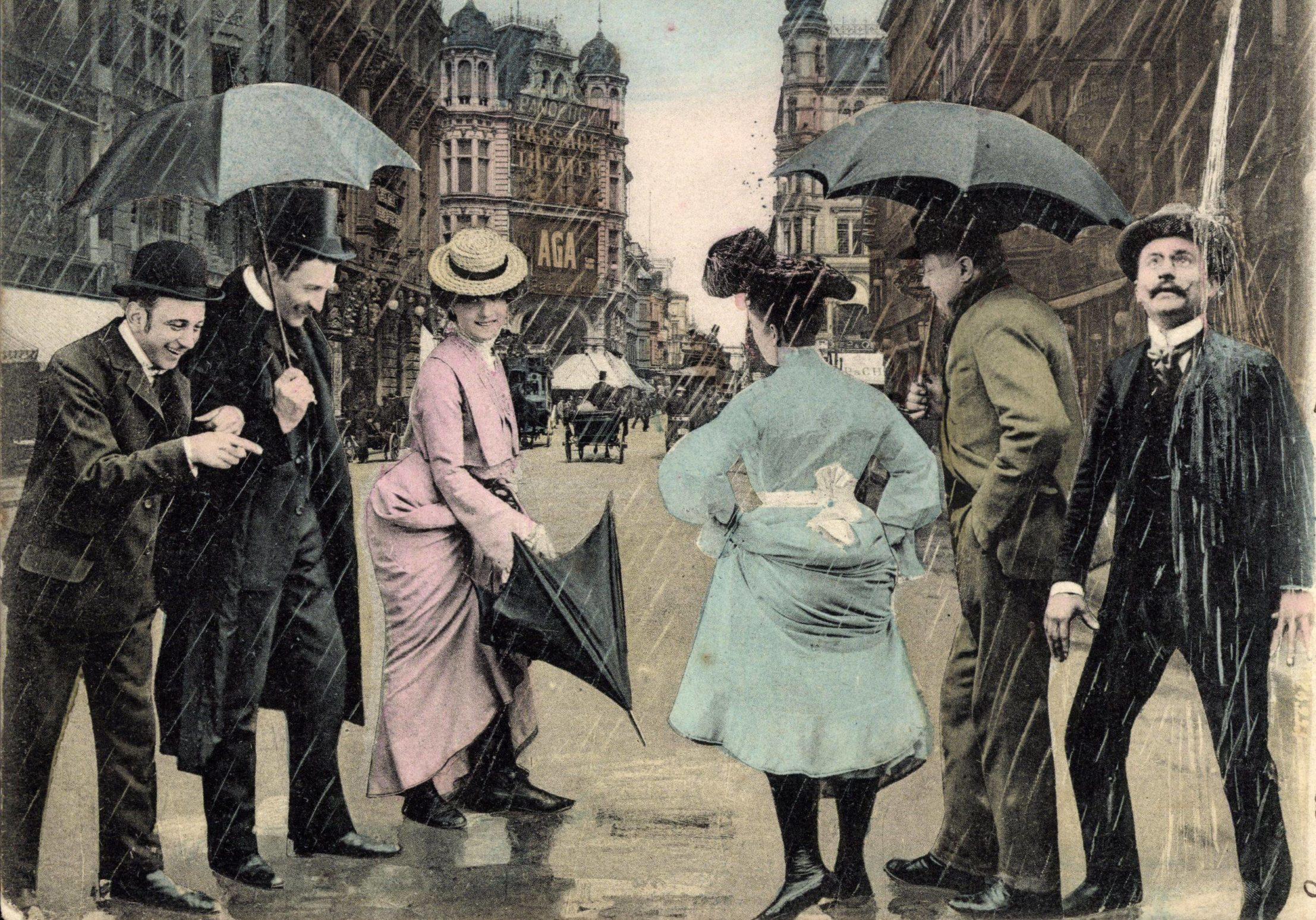 Regen in Berlin: Passanten in der Friedrichstraße, Collage um 1900. Foto: Imago/Arkivi