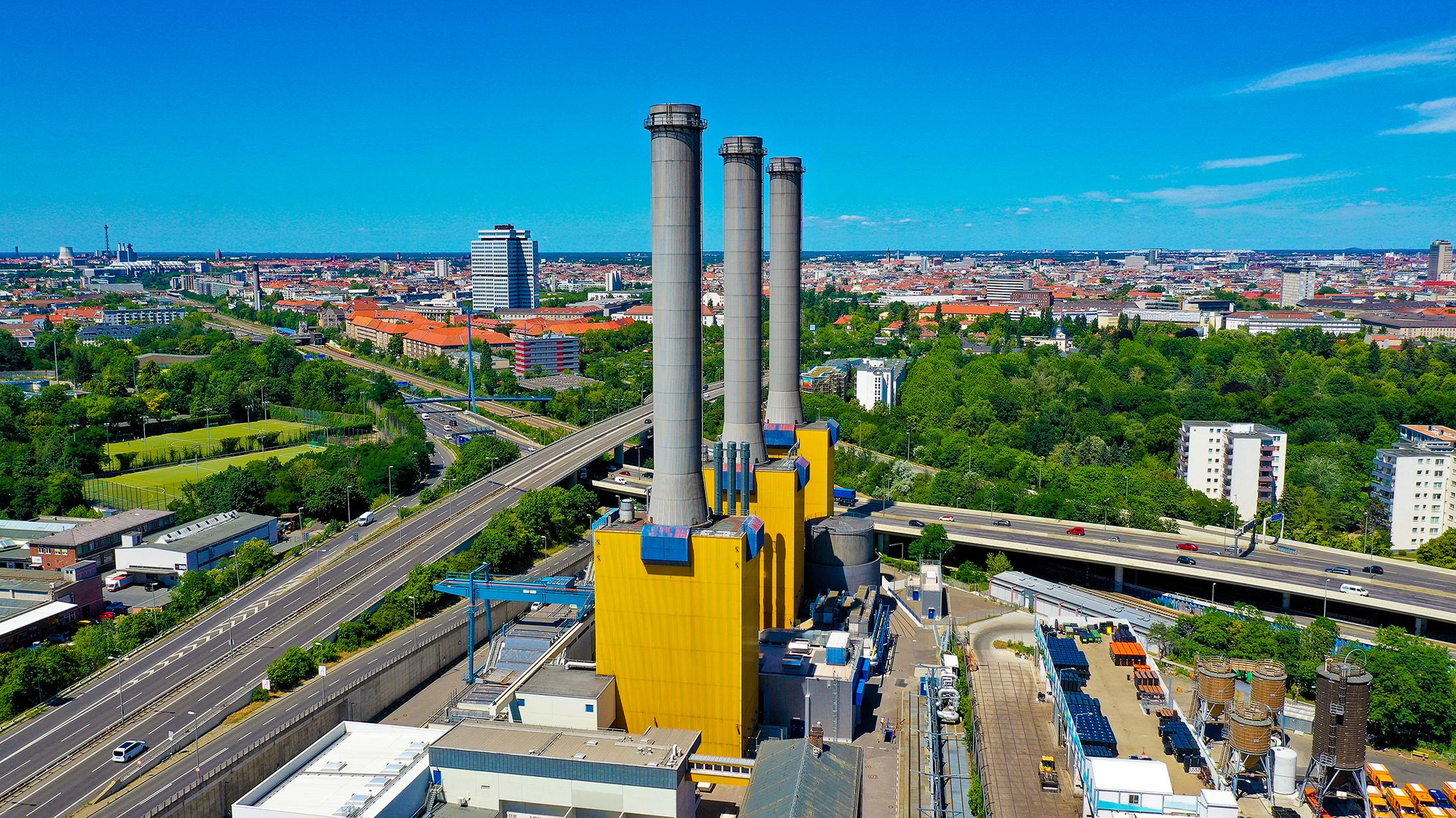 Luftbild des Wilmersdorfer Heizkraftwerks. Foto: Vattenfall/Andreas Friese
