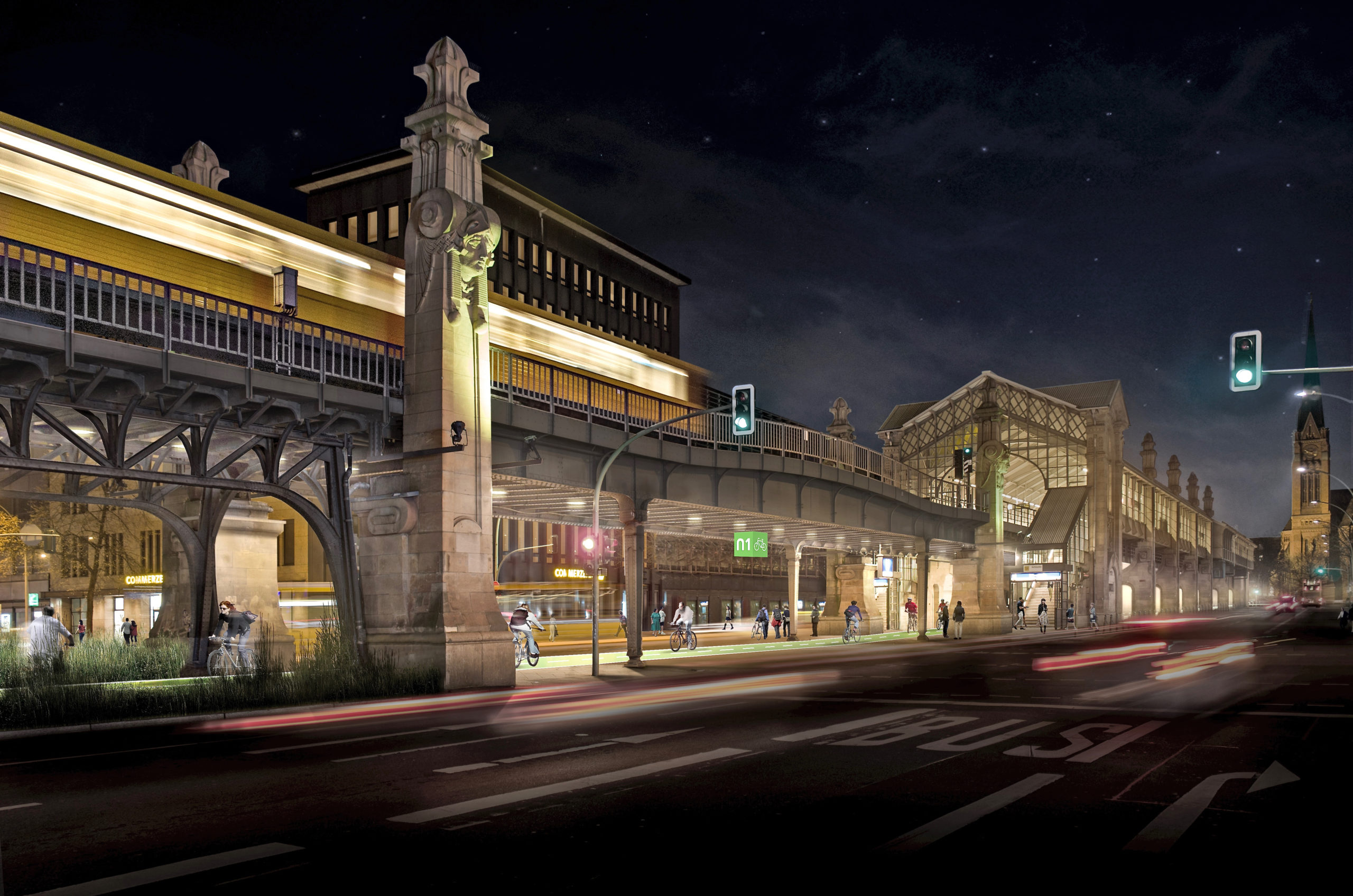 Leuchtturmprojekt der Verkehrswende: Die Simulation zeigt Radbahn-Pläne unter der U-Bahn. Fotomontage: Paper Planes e.V.