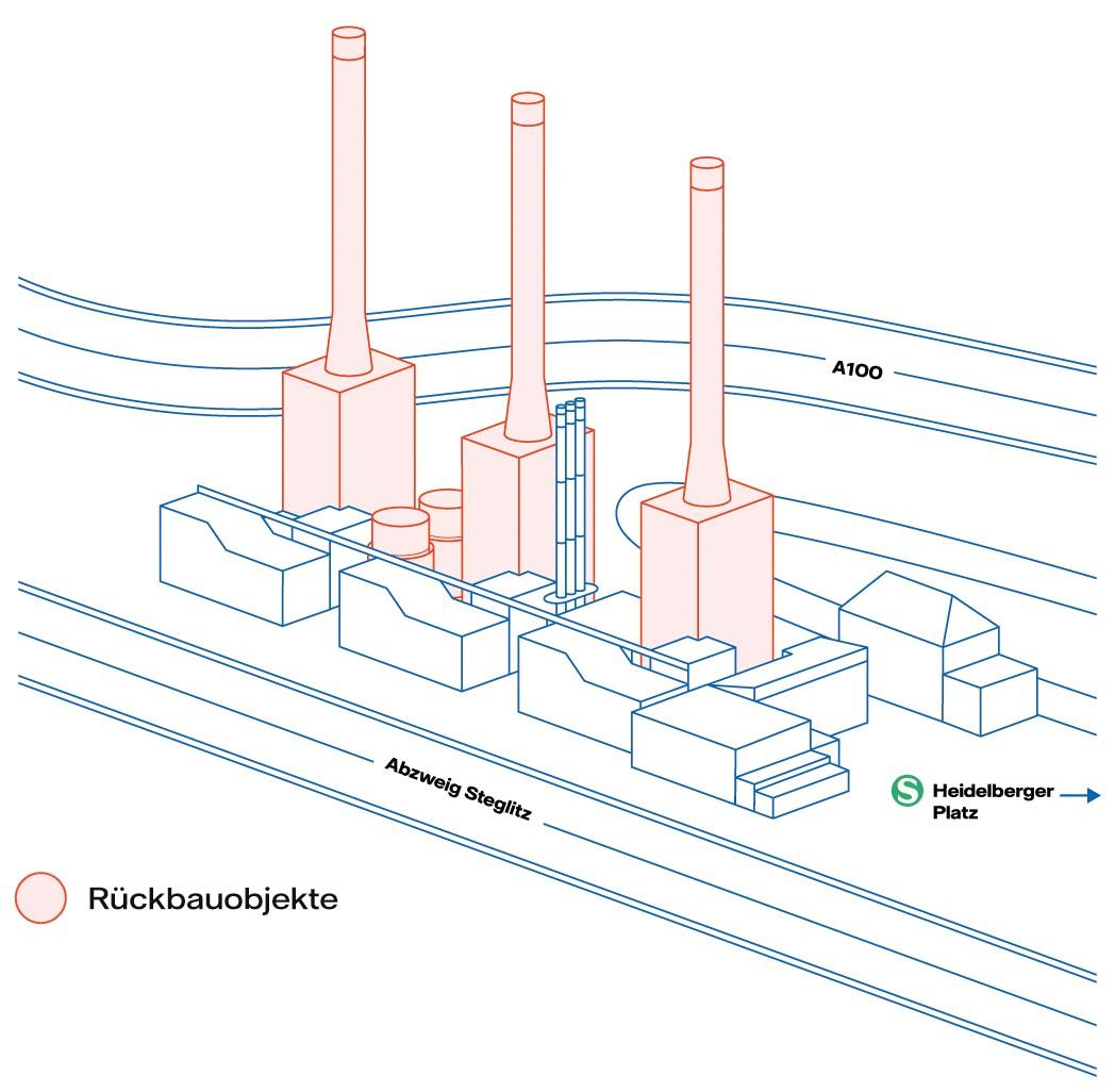 Heizkraftwerk Wilmersdorf: Plan mit den zum Rückbau vorgesehenen Objekte. Foto: Vattenfall