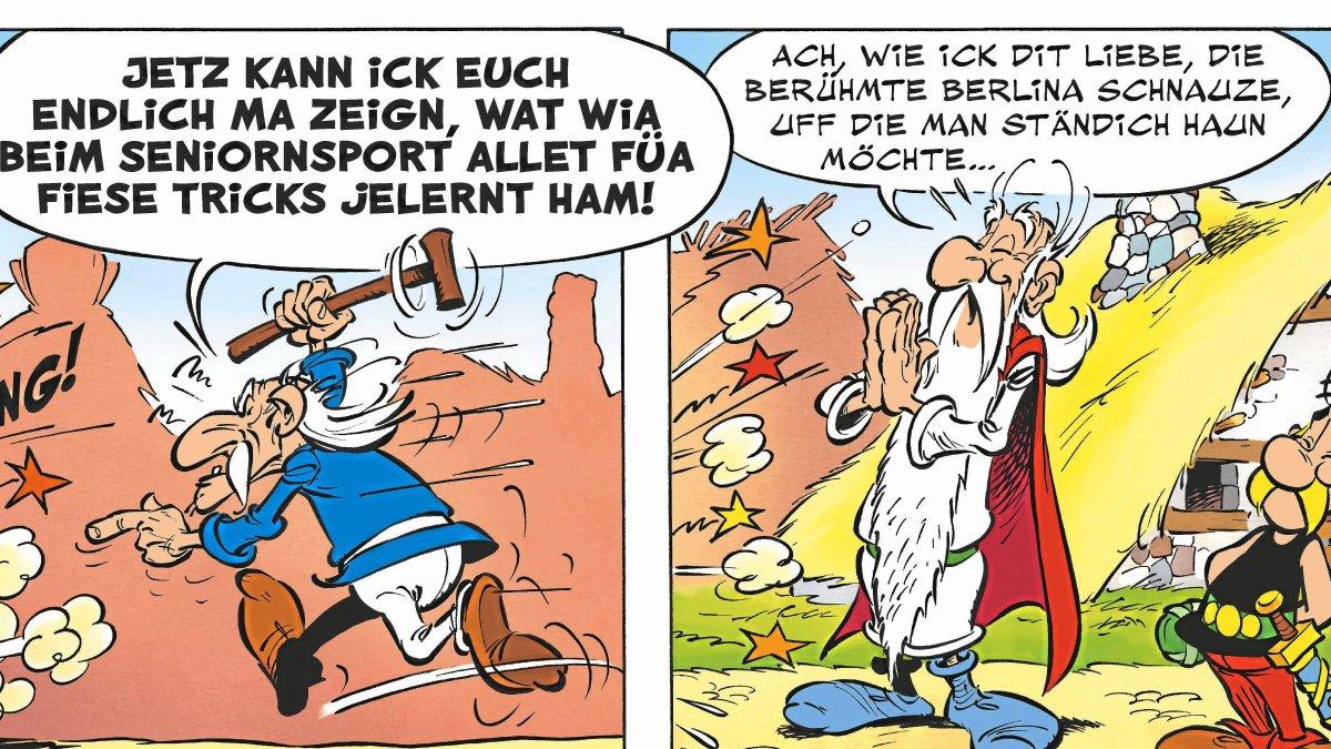 In Galien wird berlinert, man wähnt Asterix & Co. an der Spree. Es funktioniert! Foto: ASTERIX®- OBELIX®- IDEFIX® / © 2021 LES EDITIONS ALBERT RENE / GOSCINNY – UDERZO / ASTERIX®
