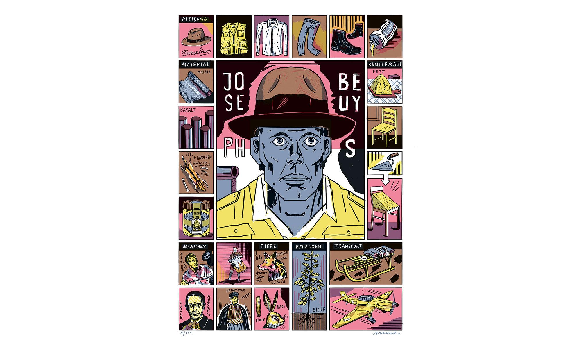 """Der Beuys'sche Kosmos als Setzkasten: Jakob Hinrichs exklusive Siebdruckedition """"Joseph Beuys"""""""