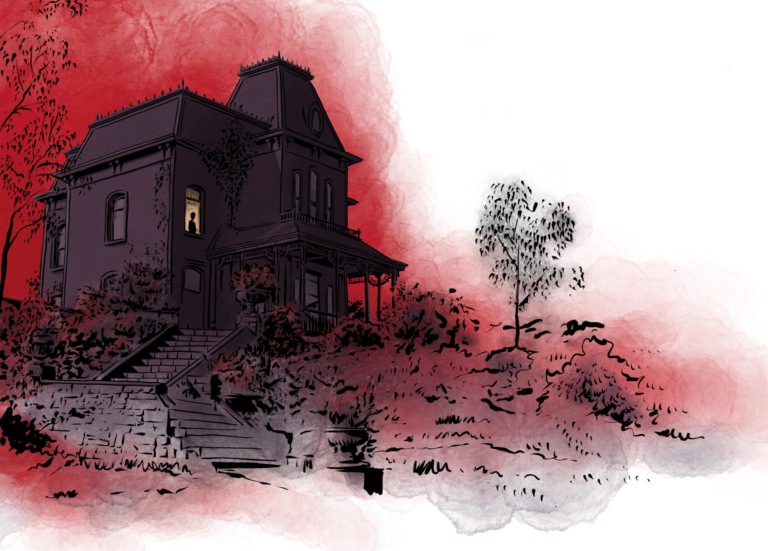 Angst, Schmerz, Einsamkeit. Eine Figur blickt aus einem düsteren Haus. Was aussieht, wie ein Bild aus einem Horrorfilm, ist eine Metapher für die Stimmung vieler Menschen, die an psychischen Krankheiten leiden. Illustration: Schwarwel